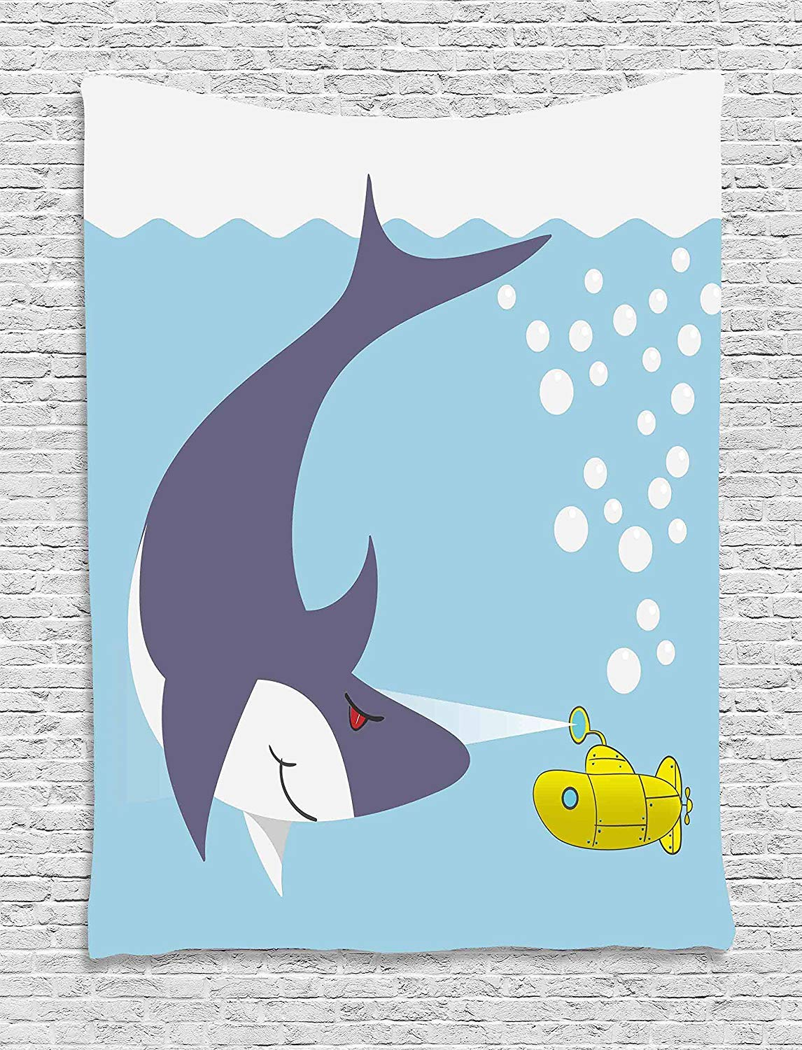THndjsh Yellow Submarine Wall Hanging Tapestry, Shark with Vessel in Ocean Bubbles Under the Sea Theme Animals Cartoon, Bedroom Living Room Dorm Decor, 60 W x 80 L Inches, Blue Gray Yellow