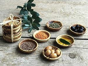 Tubibu Olive Wood Mini Bowls Set of 6 Handmade Bowls, Handcrafted Wooden Mini Bowls