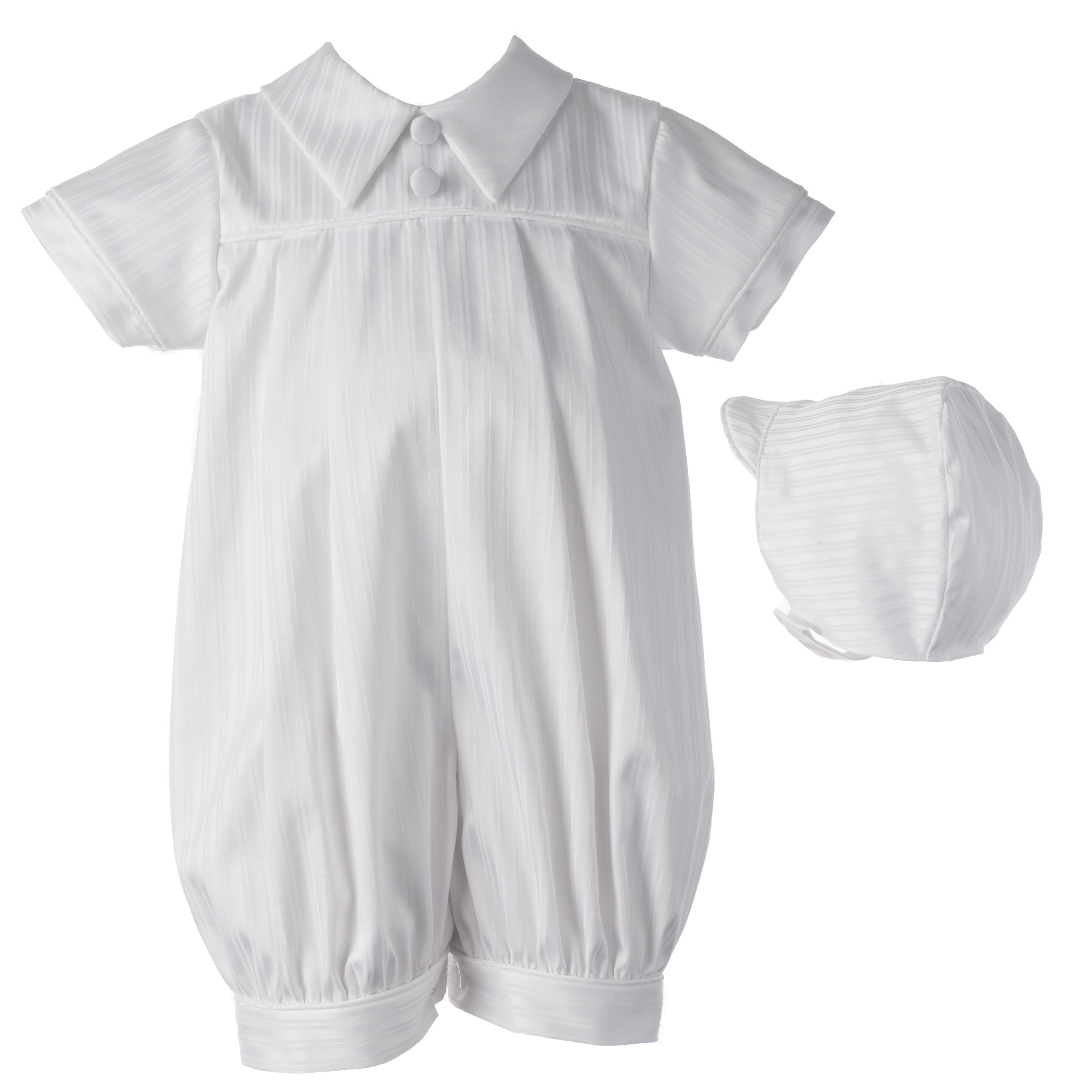 Lauren Madison Baby-Boys Newborn Christening Baptism Infant Special Occasion Satin Striped Cotton Short Pleated Romper with Shirt Collar, White, 9-12 Months