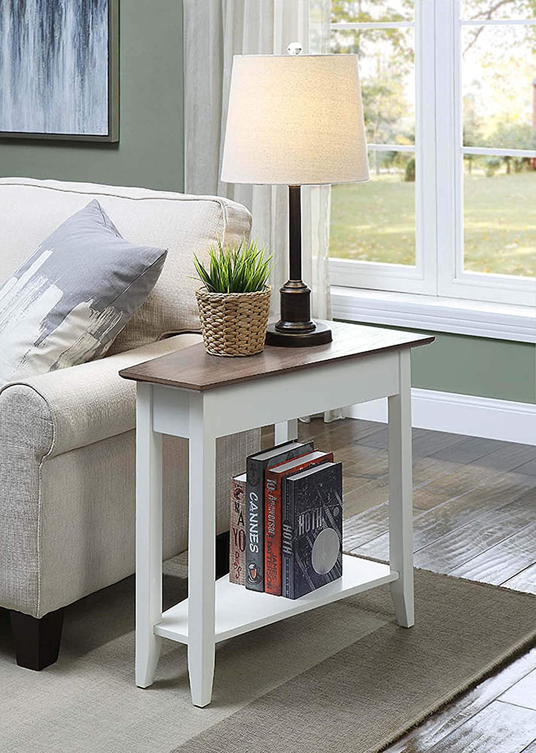 Convenience Concepts 7105060DFTW American Heritage Wedge End Table, Driftwood Top/White Frame