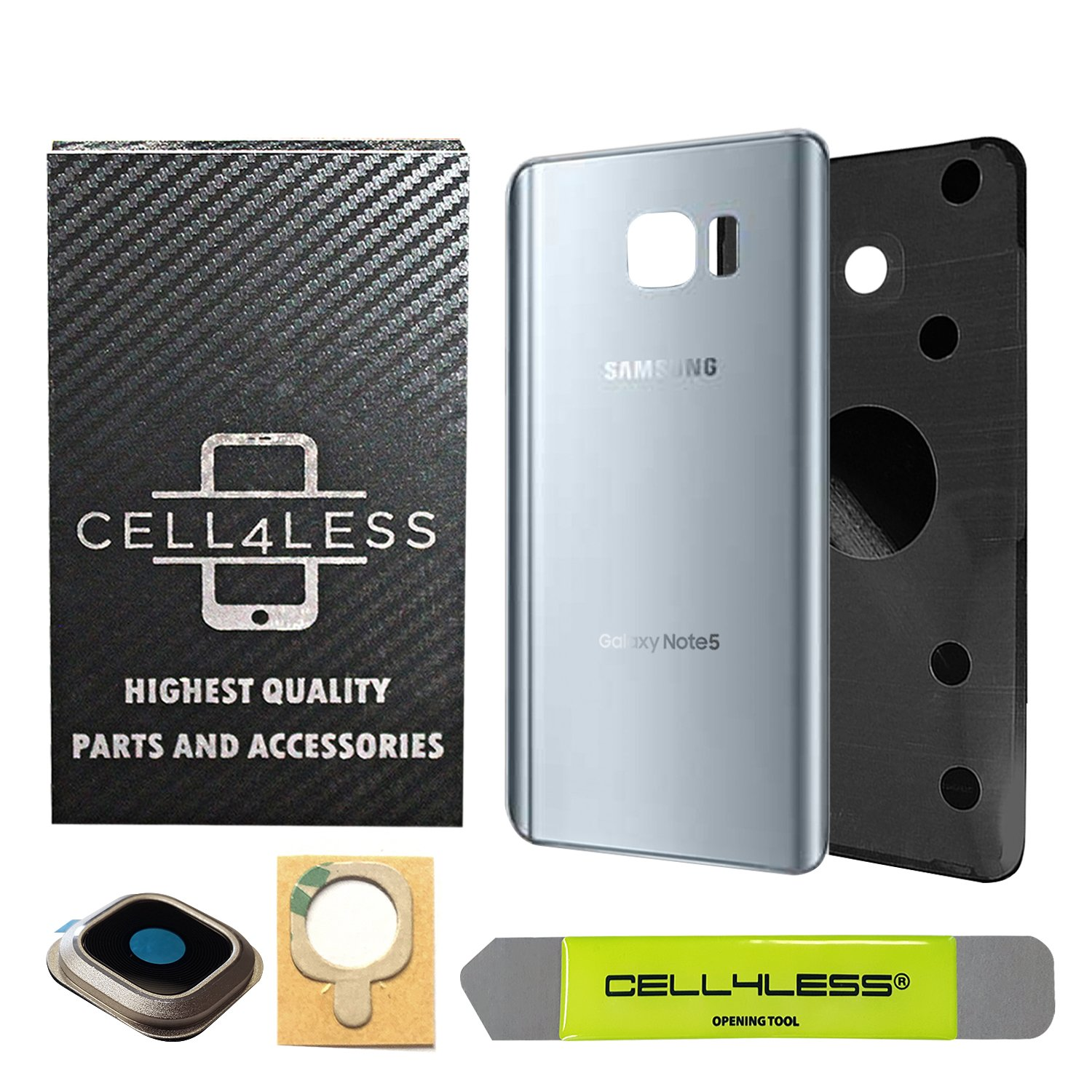 CELL4LESS Samsung Galaxy Note 5 Replacement Rear Back Glass Back Cover w/Custom Removal Tool & Pre-Installed Adhesive - Fits N920 Models - 2 Logo (Sapphire Black) (Silver)