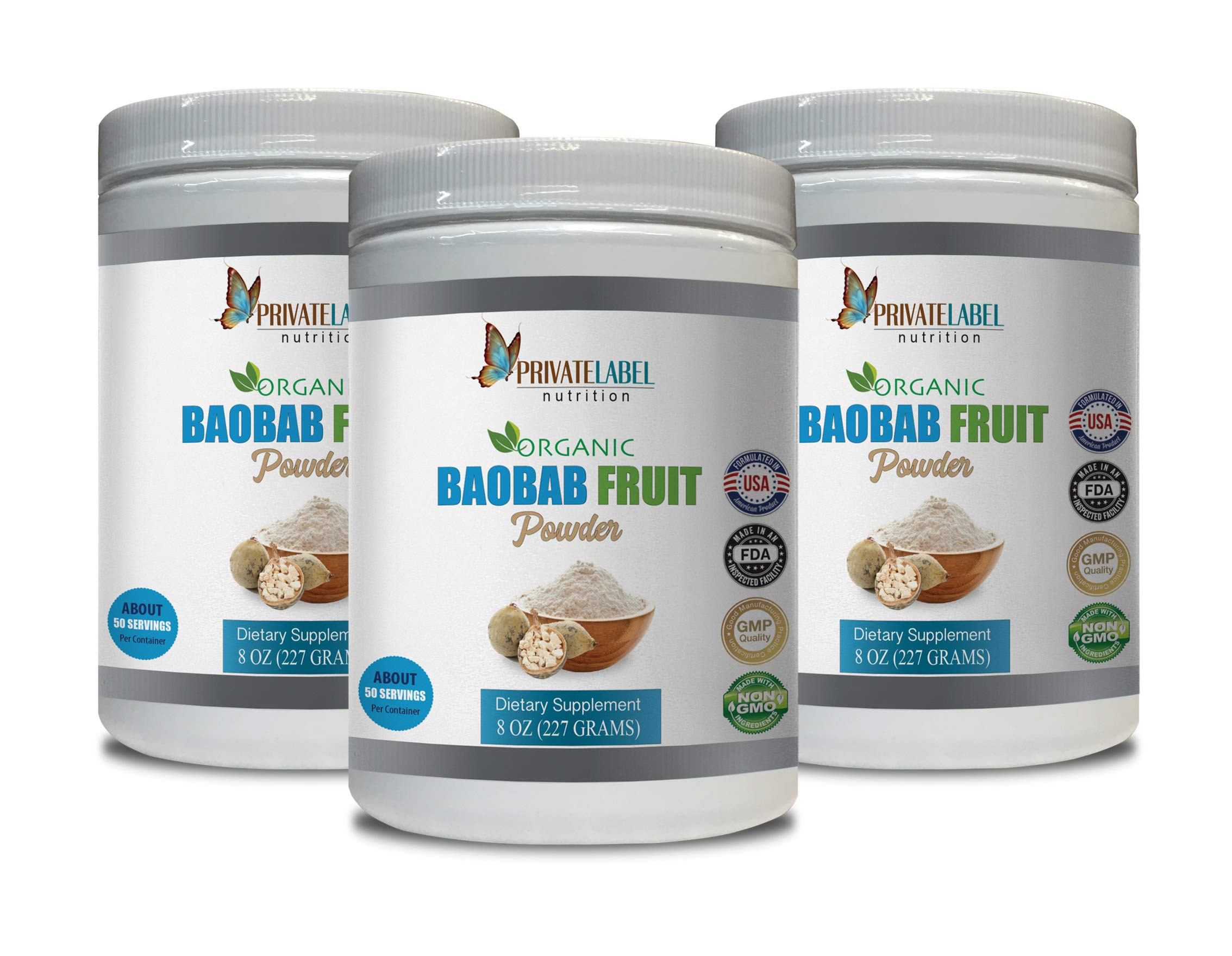 antioxidant and Immunity - Baobab Fruit Organic Powder - Digestive Detox Cleanse - 3 Cans 24 OZ (150 Servings)