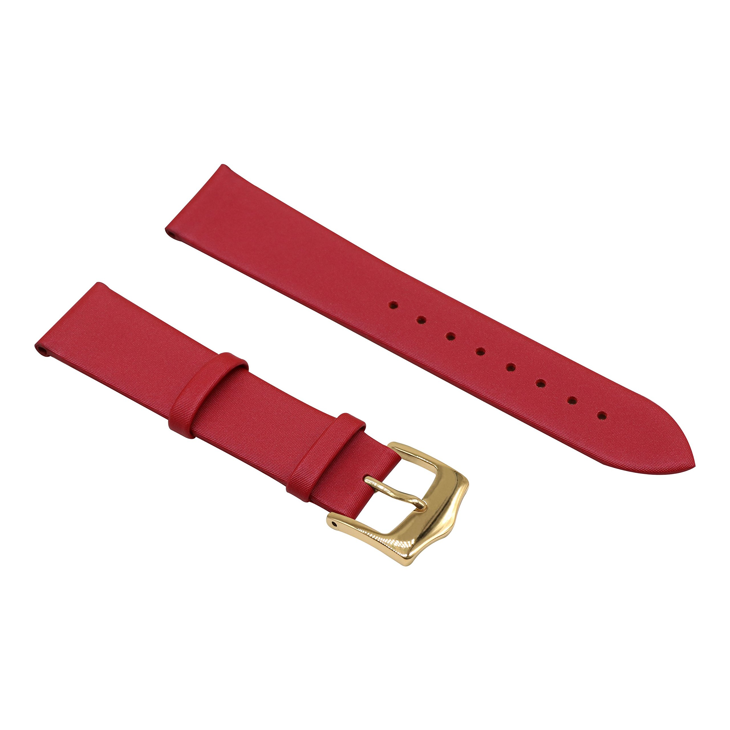 Red 16mm Decent Simple Design Genuine Leather Semi-Matt Finish Wristwatch Watch Band Strap for Women