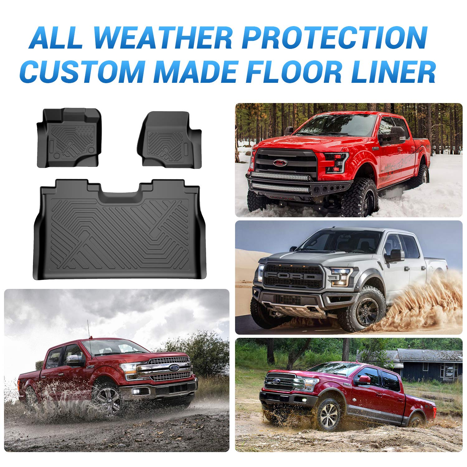 Supercrew Coolshark Ford F 150 Floor Mats Front And Rear 2