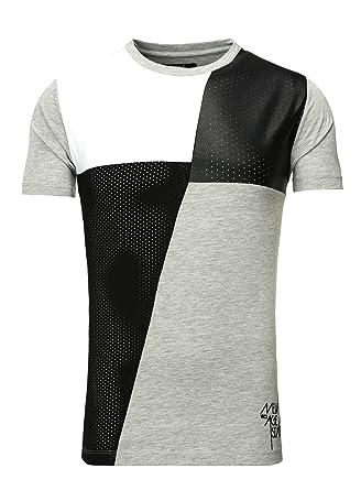 97543b48e75e93 VSCT T-Shirt Herren Leder Patch Colour Block Rundhals Shirt V-5641429 Weiß S   Amazon.de  Bekleidung