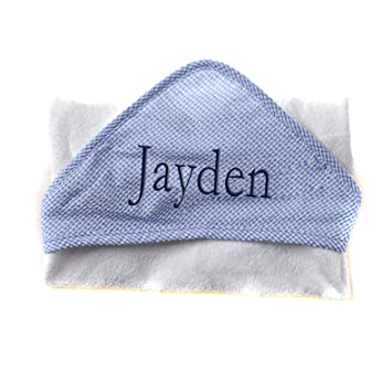 Personalised deluxe BABY //DOB  Embroidered hooded baby towel
