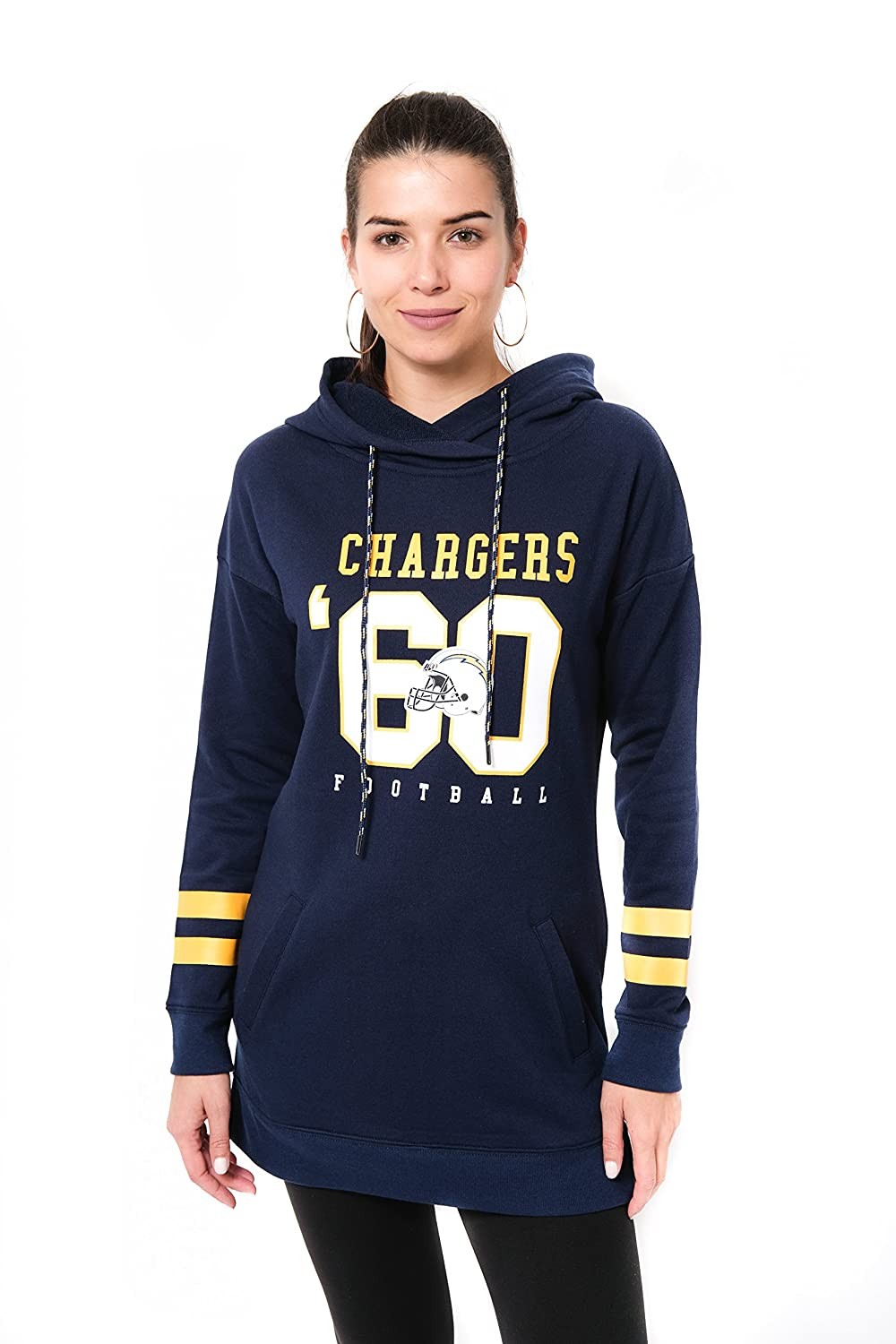NFL San Diego Chargers Ultra Game Womens L//S FLACH TUNIC P//O W//HOOD Small Navy