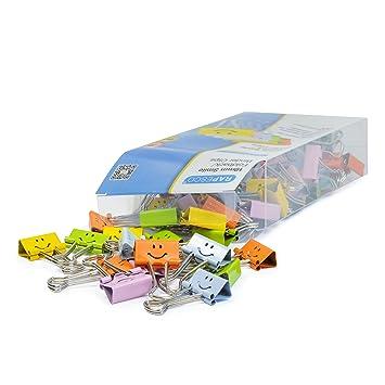 Rapesco Accesorios - Caja de 80 pinzas / clips de 19mm, hasta 75 hojas con sonrisas en colores variados: Amazon.es: Oficina y papelería