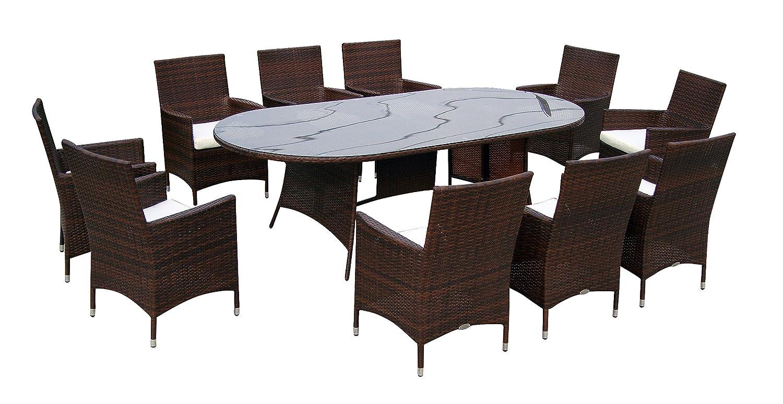 Baidani Gartenmöbel-Sets 10d00011.00002 Designer Garnitur Convention, 1 Tisch mit Glasplatte, 10 Stühle mit passenden Sitzauflagen, braun