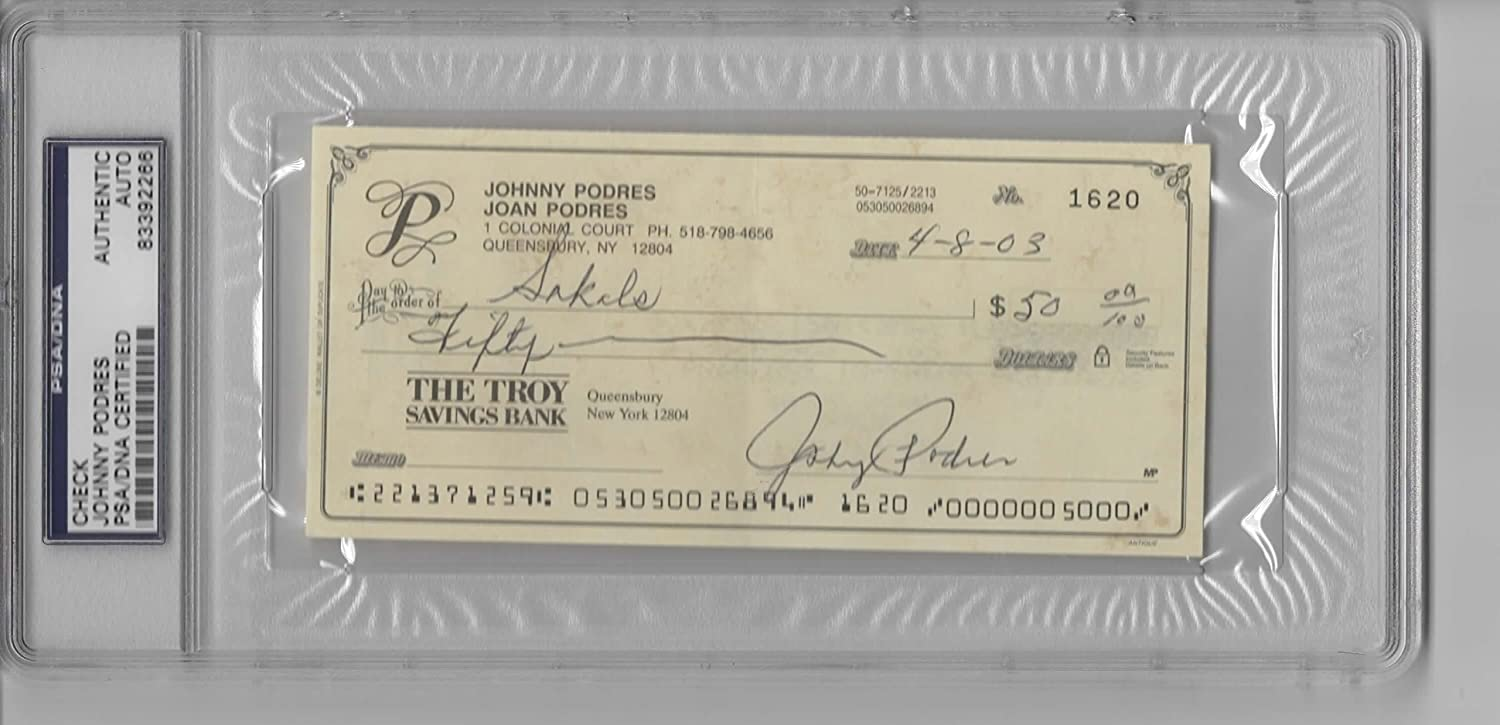 JOHNNY PODRES SIGNED PERSONAL CHECK - PSA/DNA SLABBED at Amazons Sports Collectibles Store
