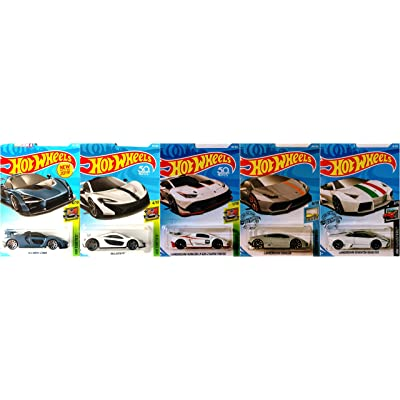 Hot Wheels Lamborghini and McLaren 5 Car Bundle Set Includes McLaren Senna P1 Lamborghini Huracan LP 620 Super Trofeo Lamborghini Reventon Roadster Version 2: Toys & Games