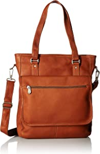 Piel Leather Laptop/Tablet Carry-All Tote, Saddle, One Size
