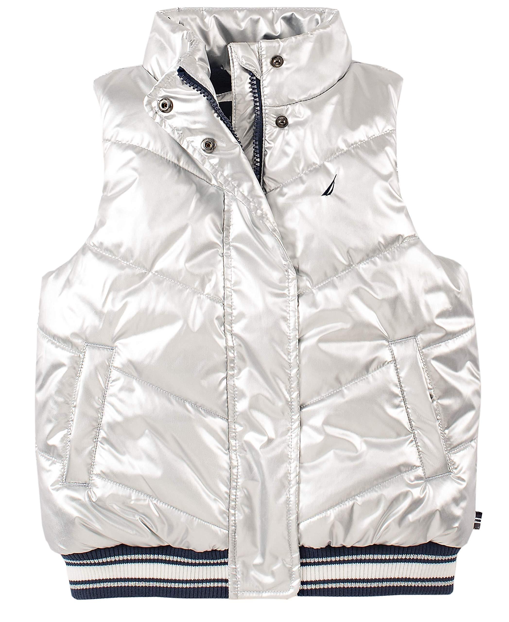 Nautica Little Girls' Puffer Vest, Metallic Silver, 6 by Nautica