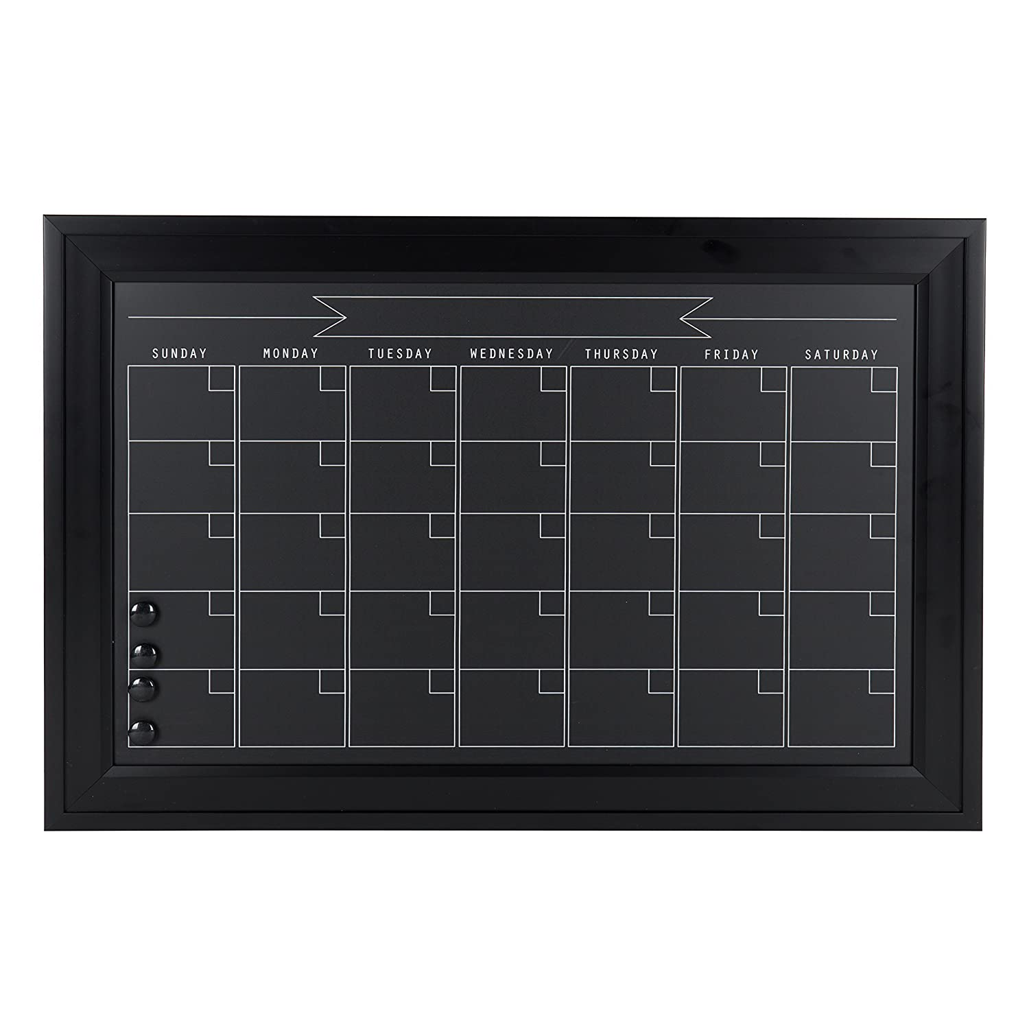 DesignOvation Bosc Framed Magnetic Chalkboard Monthly Calendar, 23.5x29.5, Gray Uniek 211500