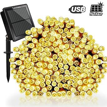 Tobbiheim Solar Lichterkette Außen 200 LED 22 Meter Wasserdicht IP65 Mit  USB Aufladung Stimmungslichter 8 Modi