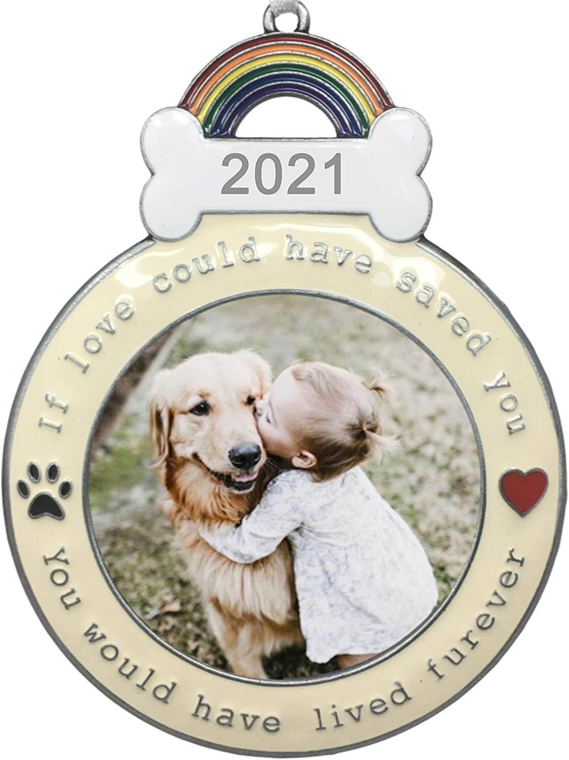 Banberry Designs Dog Memorial Ornament 2021 Dated Christmas Keepsake Picture Holder If Love Could Have Saved You Paw Prints And Heart Design Loss Of Dog Gifts Kitchen Dining