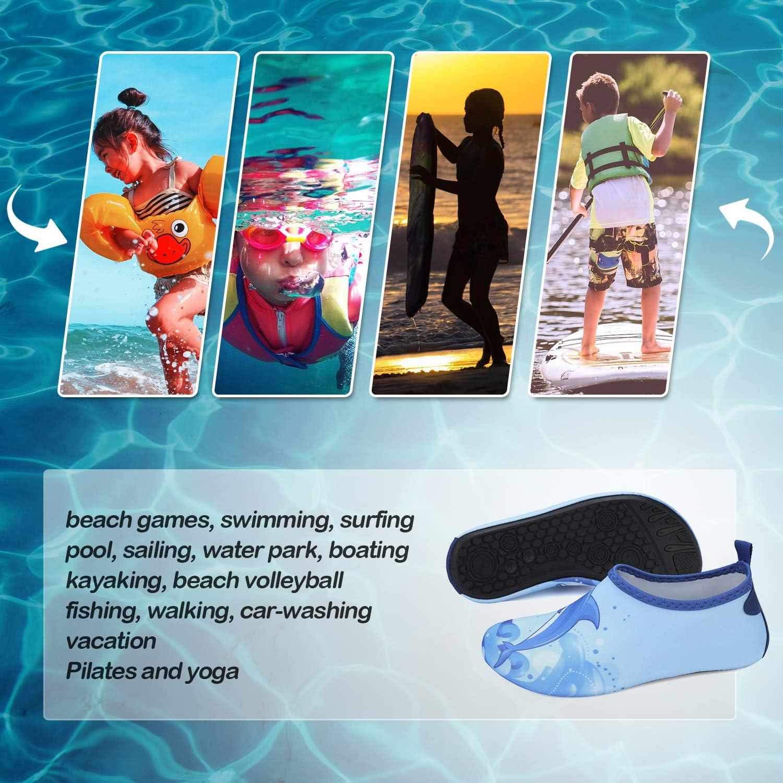 Kkomforme Kids Beach Water Shoes Non-Slip Quick Dry Swim Barefoot Aqua Pool Socks Shoes for Boys and Girls Toddler