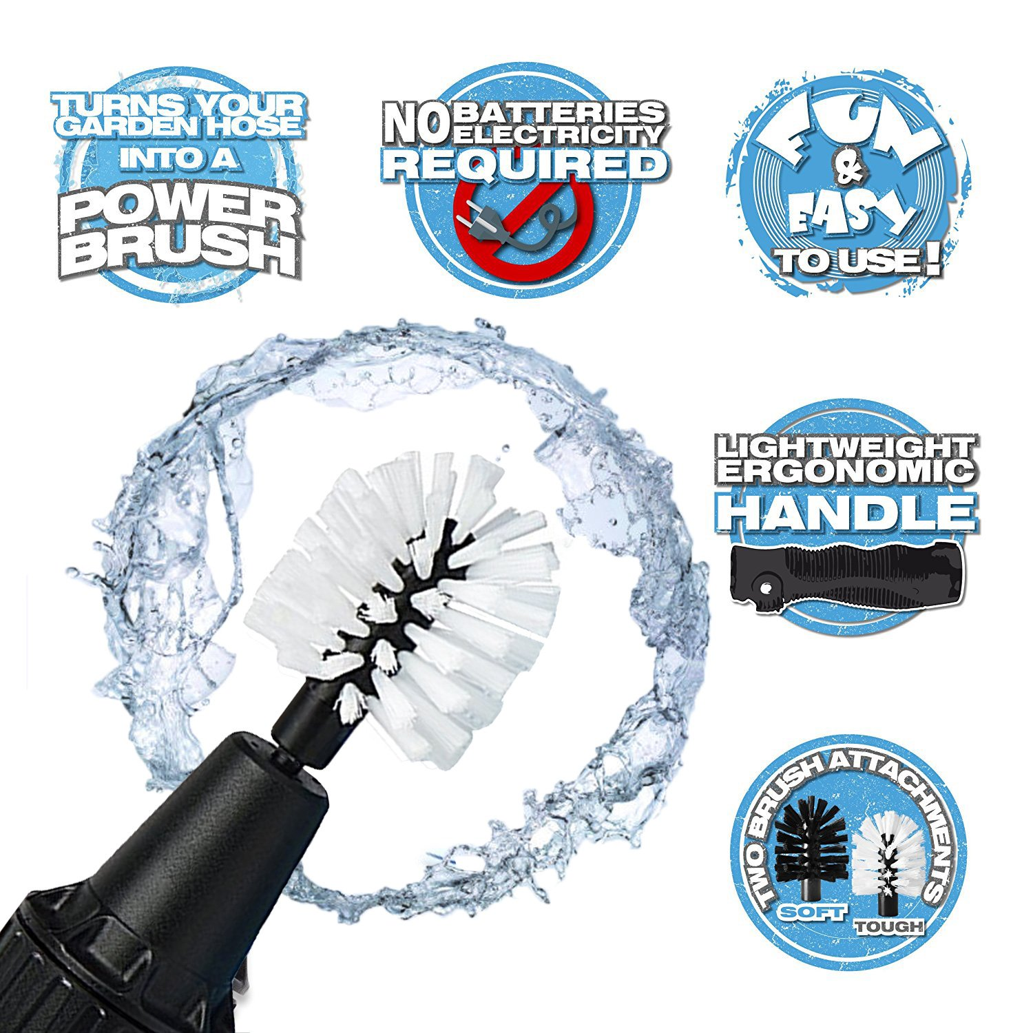 Cleaning brush, rotating cleaning brush, Premium Water-Powered Turbine for Rims, Engines, Bikes, Equipment, Furniture and More (Black) chanvi
