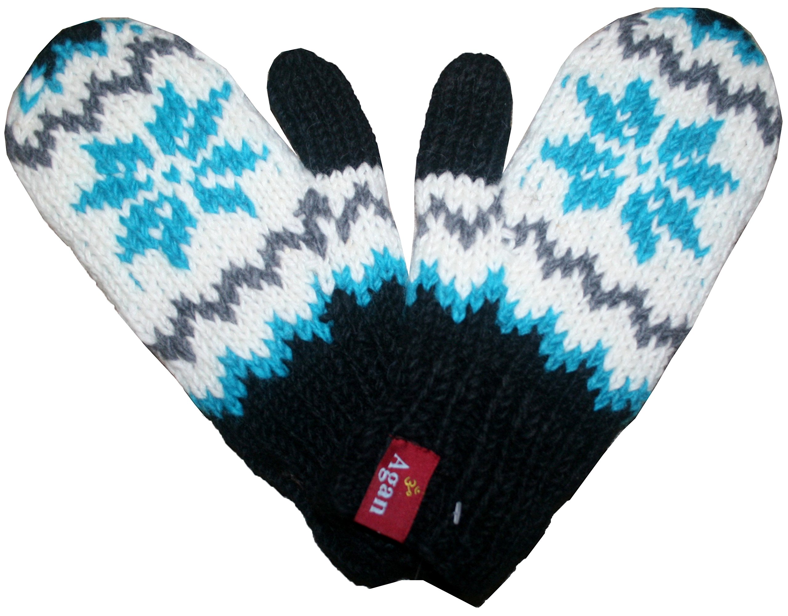 1419 MT Agan Traders Knit Wool Lalupate Mitten (Turquoise/White)