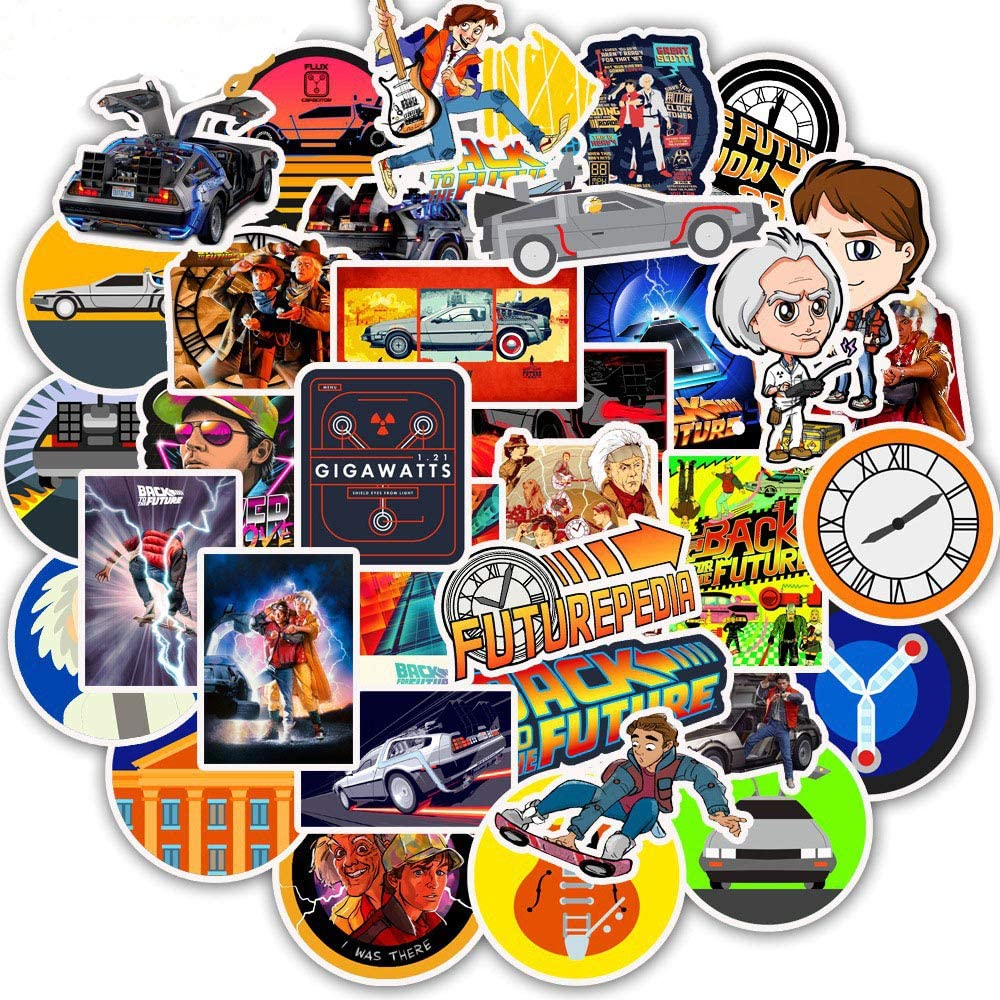 50 Pack Funny Stickers of Movie Back to The Future Water Bottles Laptop Hydroflasks Phone Motorcycle Skateboard Computer Vinyl Sticker Waterproof Aesthetic Trendy Decals for Teens Boys Girls Adults