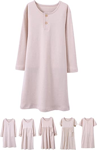 Girls Kids Organic Cotton Nightgown Sleepwear Dress Long Sleeve Soft Wear