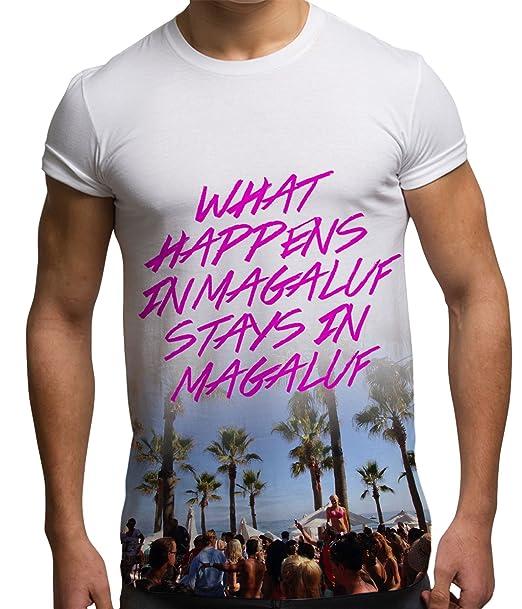 Camisetas Totalmente Impresas por sublimación para Hombre What Happens In Magaluf para Festivales: Amazon.es: Ropa y accesorios