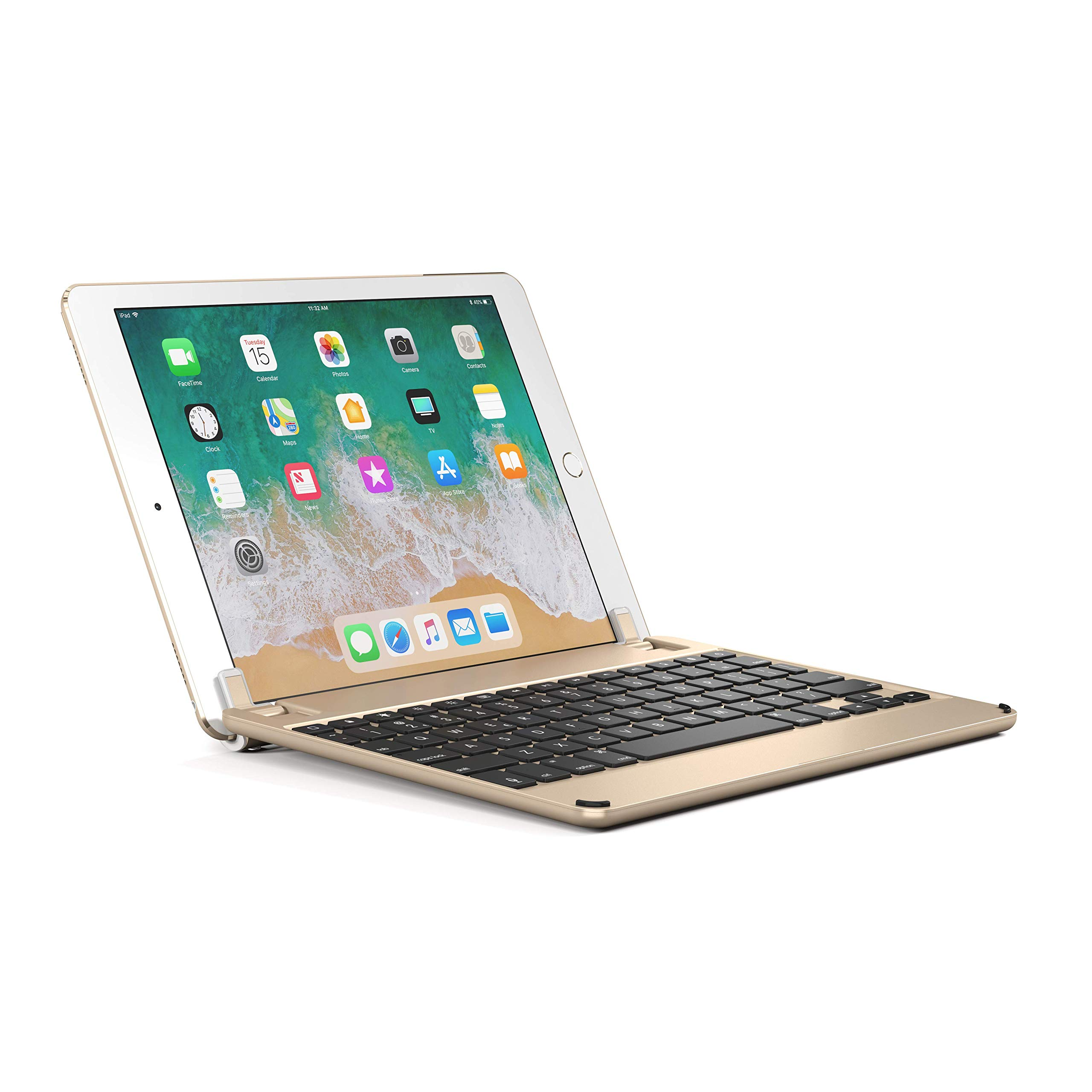 Brydge 9.7 iPad Keyboard, Aluminum Bluetooth Keyboard 9.7 inch iPad (6th Gen), 5th Gen iPad (2017), iPad Pro 9.7 inch, Air 1 2 (Gold) by Brydge