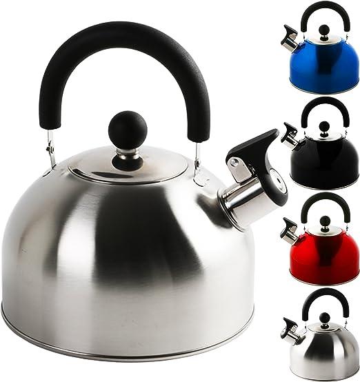 Wasserkessel Mit Pfeifton 2 Liter Edelstahl Fl/ötenkessel In Verschiedenen Farben Teekessel Wasserkocher Pfeifkessel