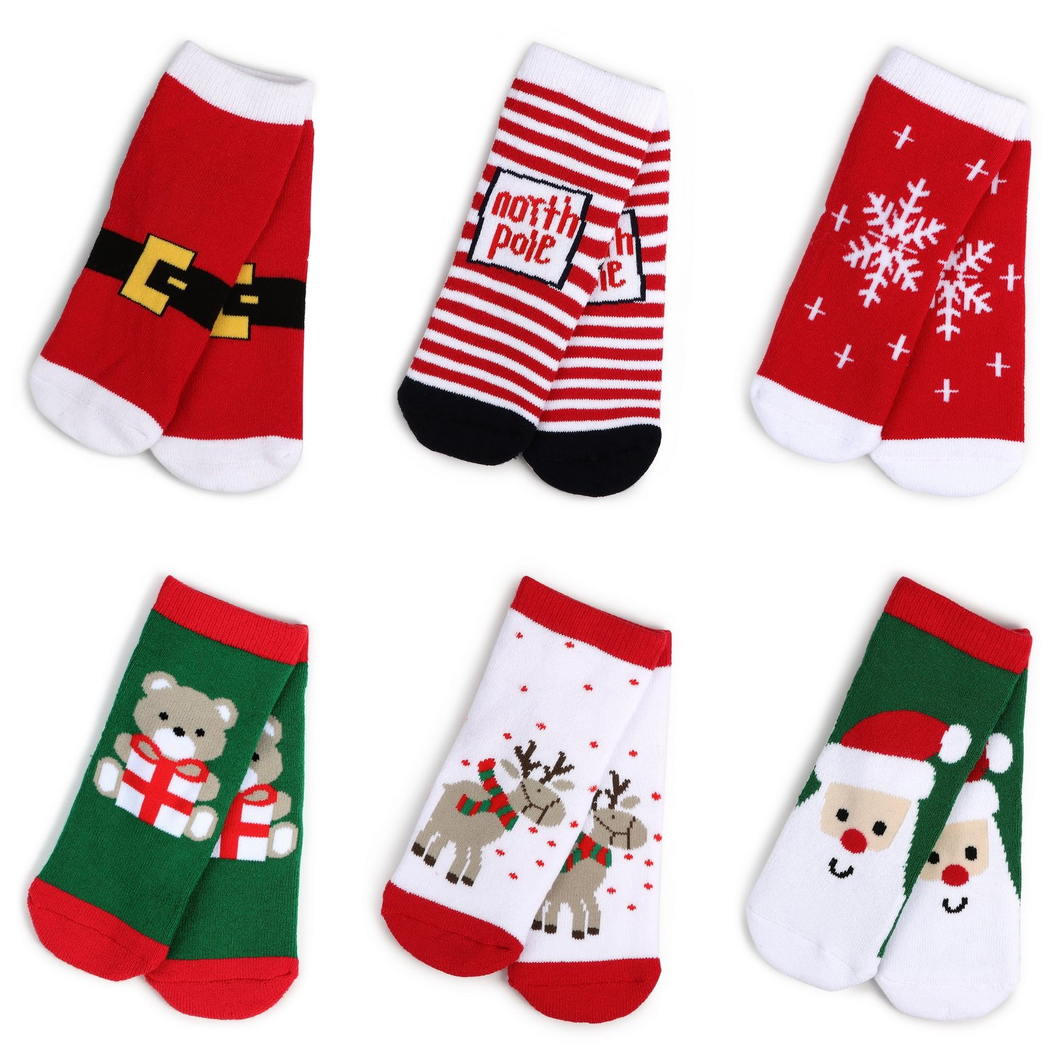 Haley Clothes Kids Christmas Socks Gift Holiday Cartoon Boys Girls Toddlers Baby Animal Pattern Cute Cotton Crew Socks (5 Pairs/6 Pairs), Green, Red, White, 6 Pairs, Size M, fits for 3y-5y