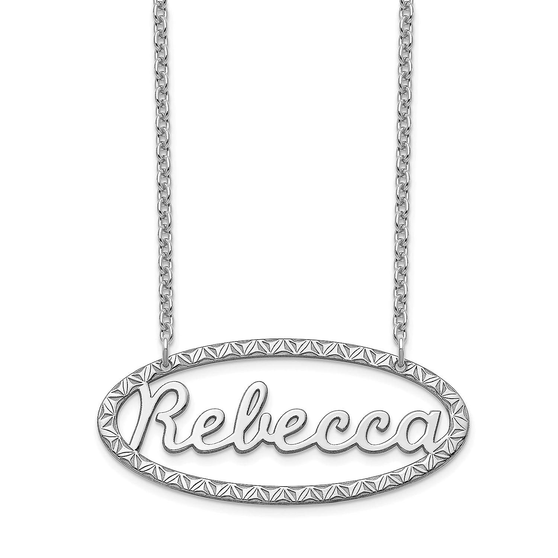 Large Size Brilliant Bijou Fancy Border Nameplate Personalized Necklace