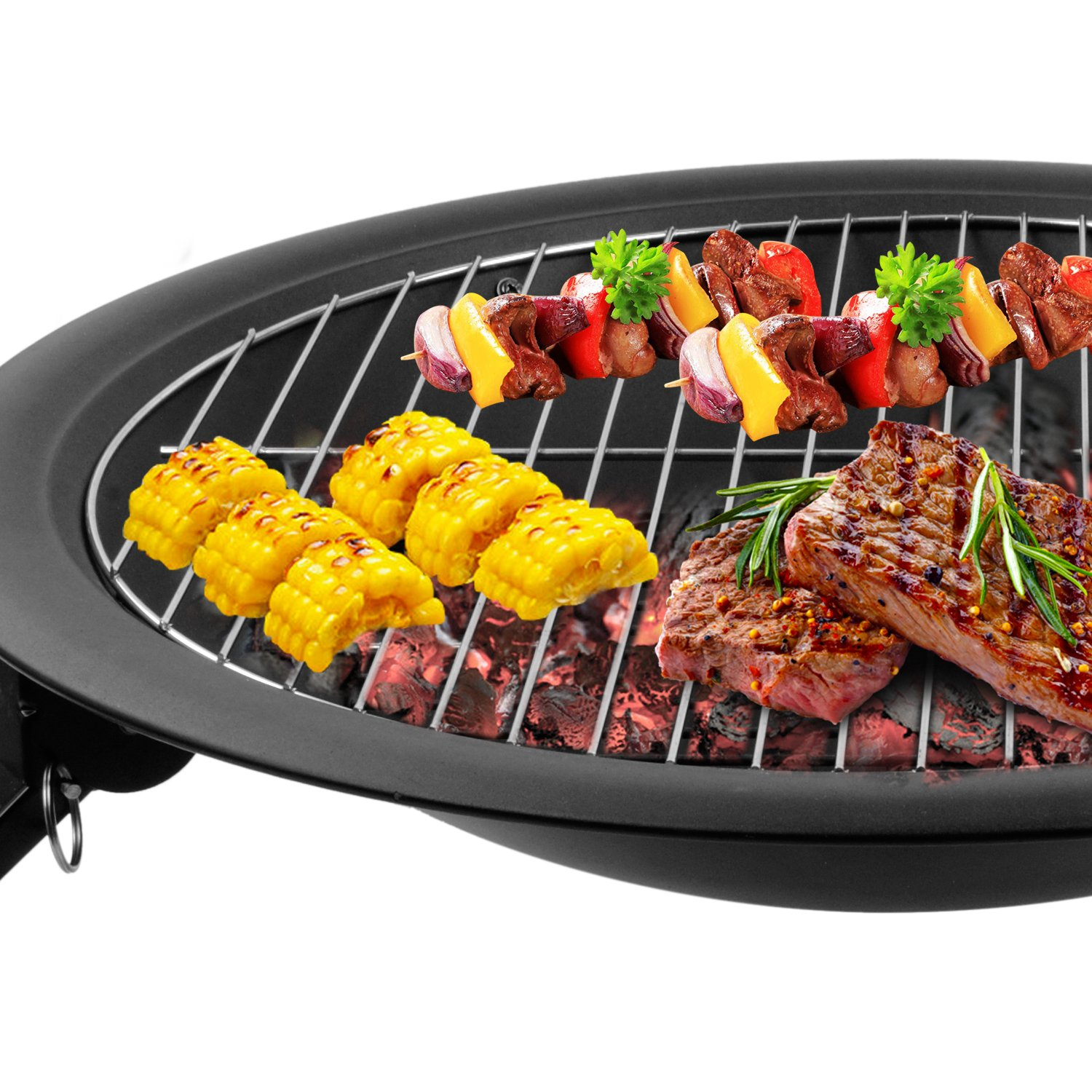 funime charcoal barbecue grilling with 4 foldable legs fire screen