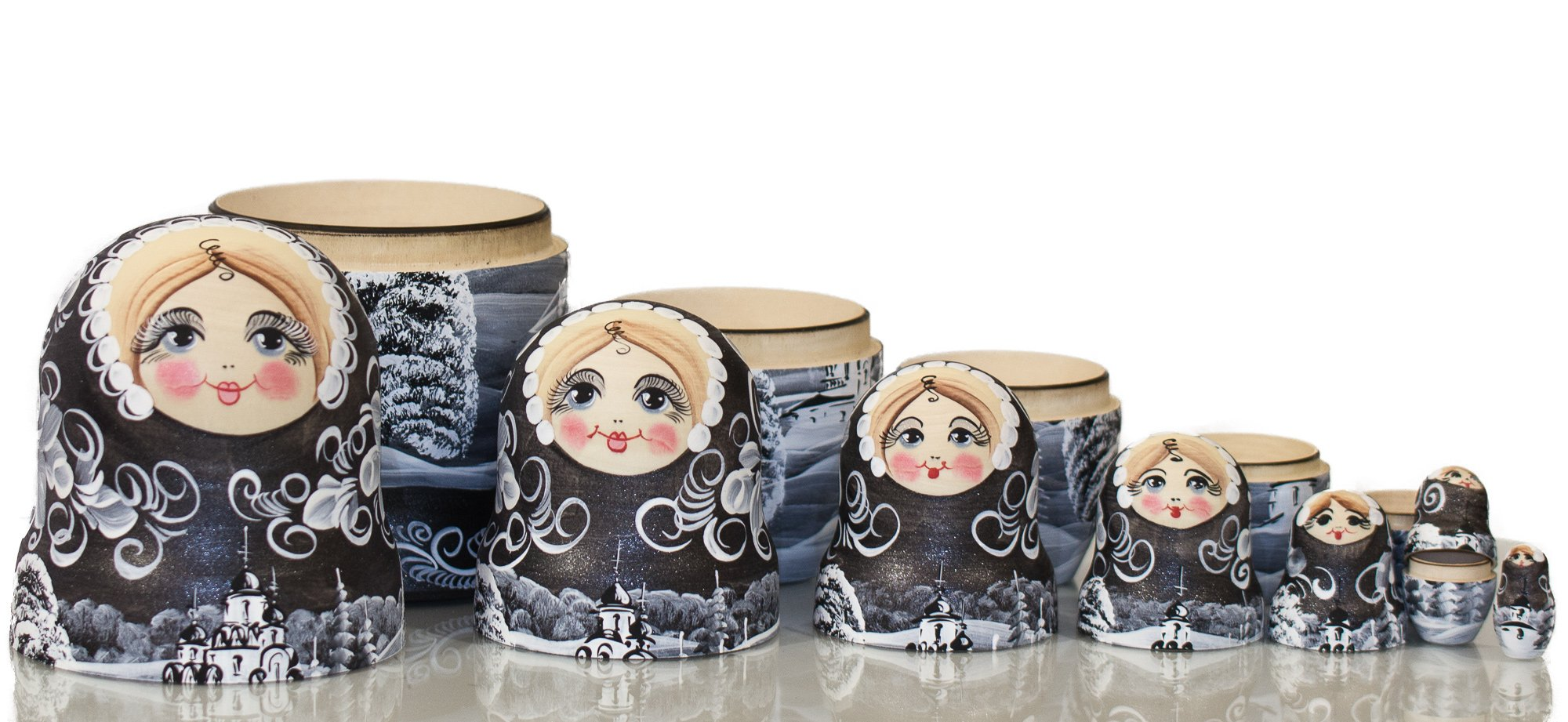 Russian Nesting Doll - ''Winter`s Tale'' - Hand Painted in Russia - MOSCOW KREMLIN GIFT BOX - Wooden Decoration Gift Doll - Traditional Matryoshka Babushka (8`` (7 dolls in 1), Silver Night) by craftsfromrussia (Image #7)