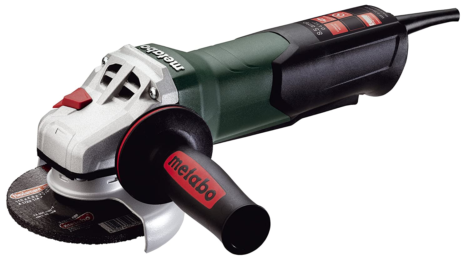Metabo WP9-115 Quick 8.5 Amp 10,500 rpm Angle Grinder with Non-locking Paddle Switch, 4 1 2