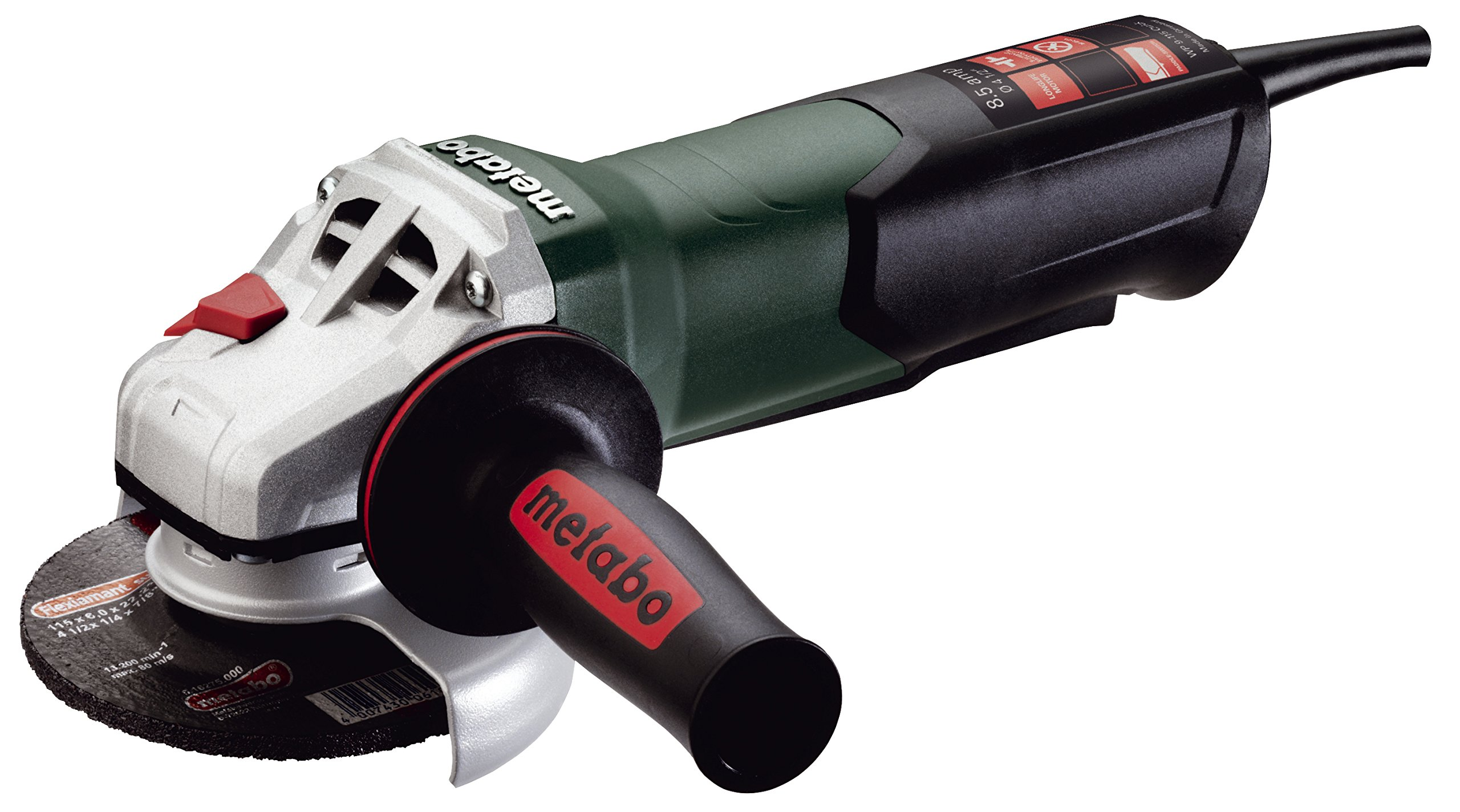 Metabo WP9-115 Quick 8.5 Amp 10,500 rpm Angle Grinder with Non-locking Paddle Switch, 4 1/2''