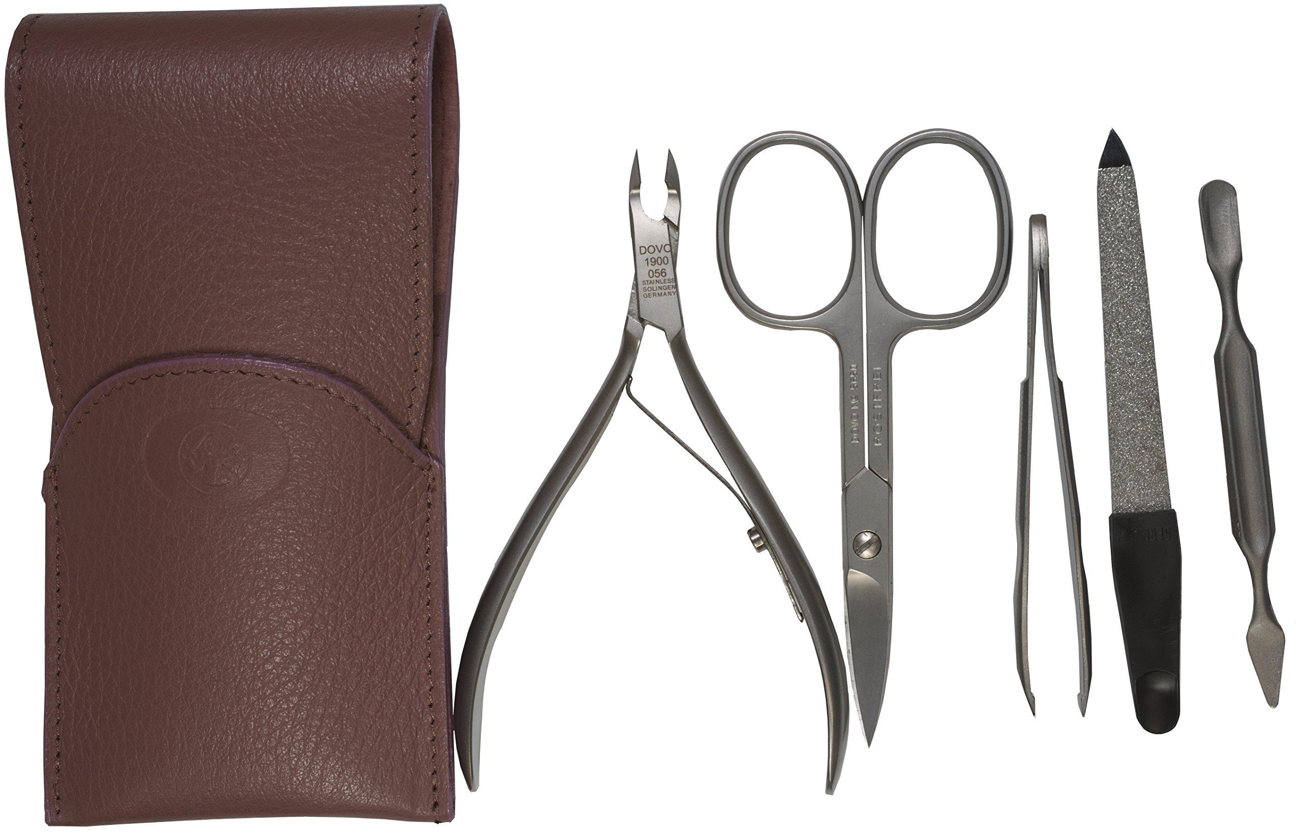 Dovo 5-Piece Stainless Steel Ladies Manicure Set in Lavender Leather Case, Made in Germany