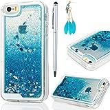 Cover iPhone 5S Bling Glitter, iPhone SE Custodia Trasparente tpu silicone Blu Brillanti - MAXFE.CO Shell 3D Quicksand Case Gomma Cassa Protettiva per iPhone 5 / 5S, iPhone SE