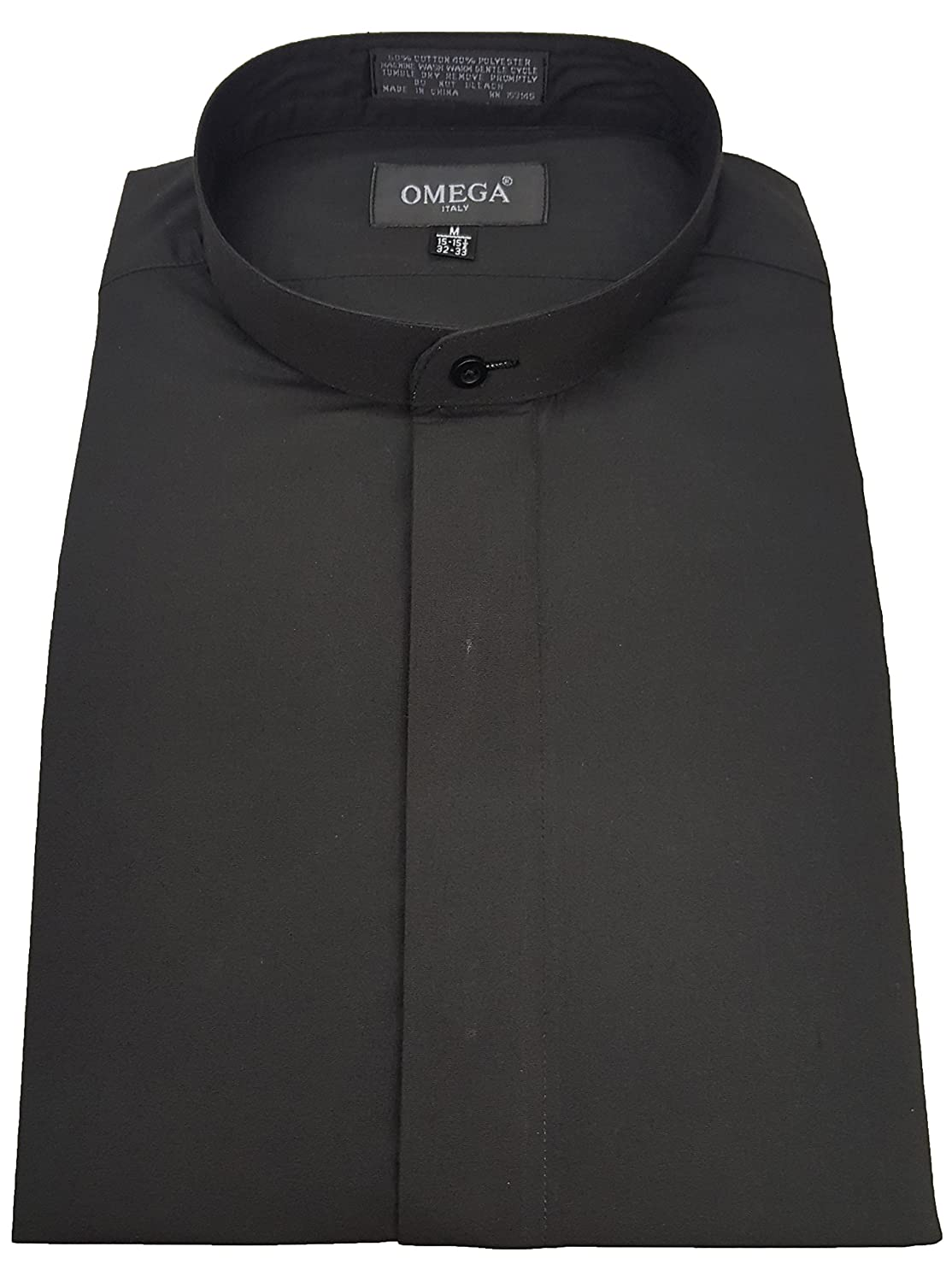 Omegatux Mens Banded Collarmandarin Collar Black Dress Shirt Non