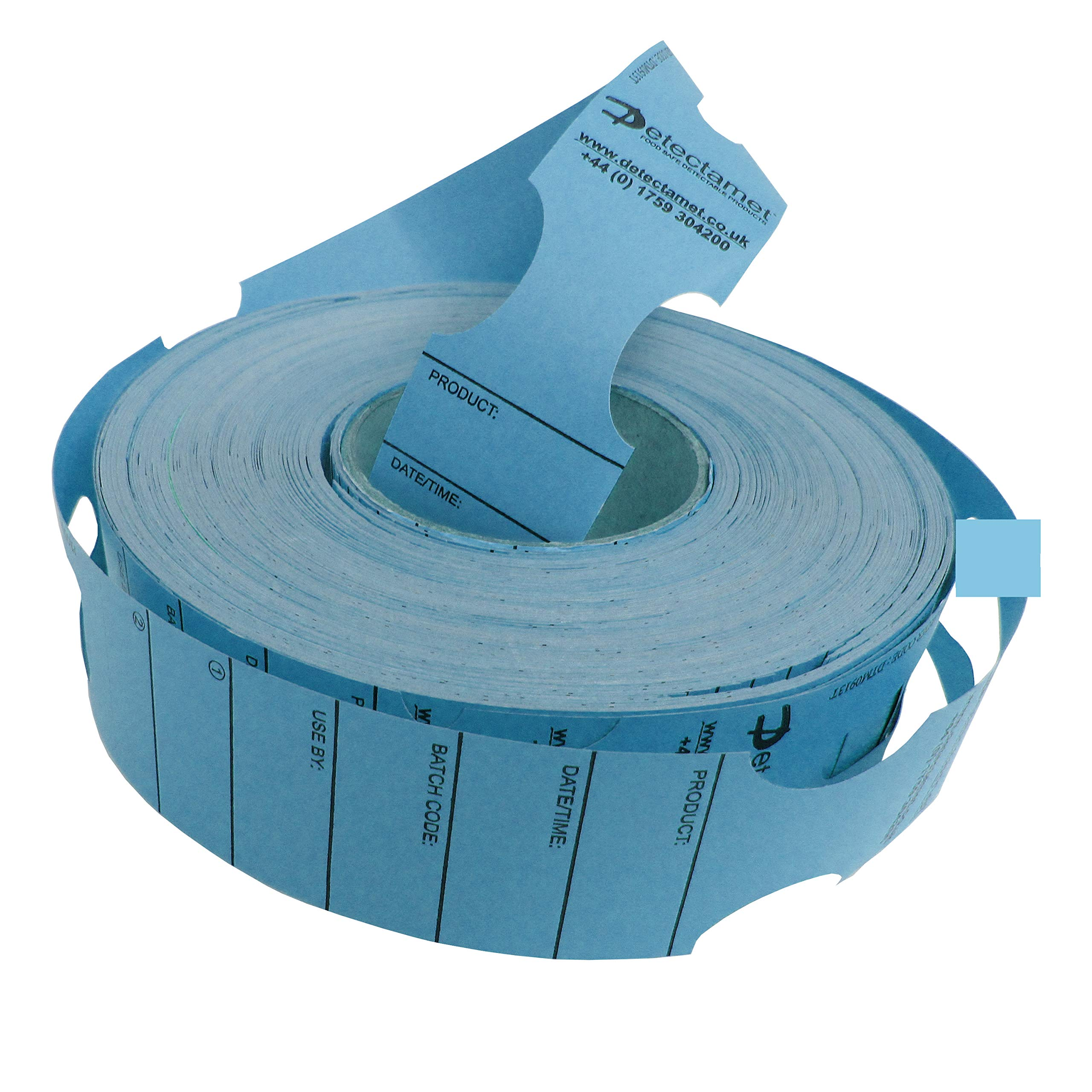Metal Detectable Keyhole Tags Blue 50x279mm Roll 500 by Detectamet Food Safe Detectable Products
