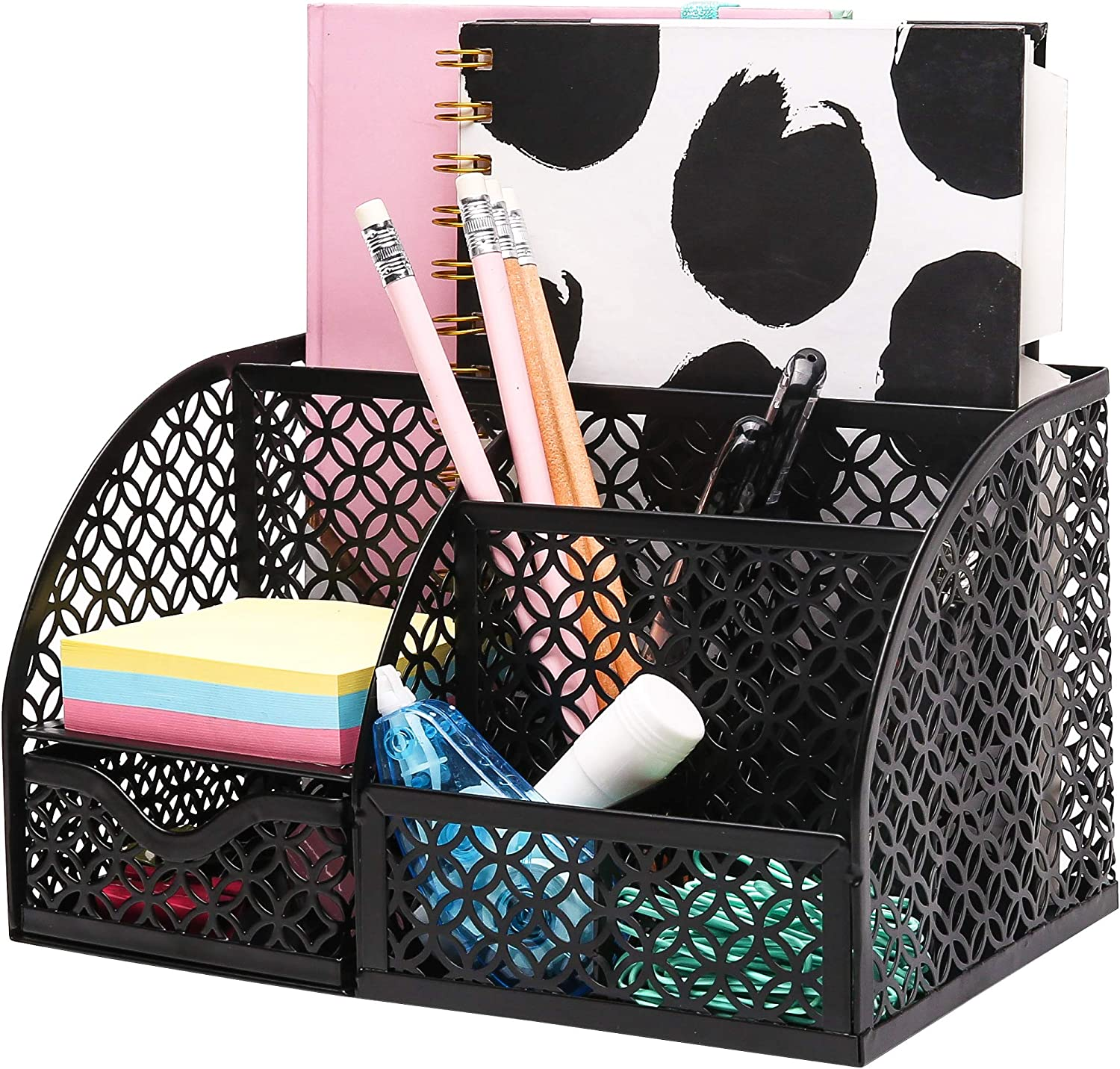 ANNOVA Mesh Desk Organizer Office with 7 Compartments + Drawer/Desk Tidy Candy/Pen Holder/Multifunctional Organizer (Black)
