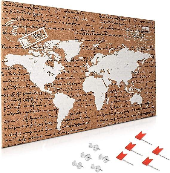Navaris tablero de corcho - Tablero de mapa del mundo 60x40CM con 10 chinchetas rojas y transparentes - Pizarra de corcho con diseño de mapamundi: Amazon.es: Oficina y papelería