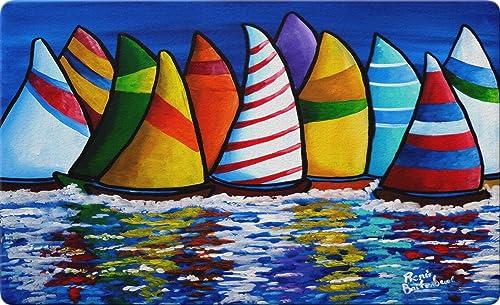 Toland Home Garden Skipper s Traffic 18 x 30 Inch Decorative Sailboat Floor Mat Nautical Doormat