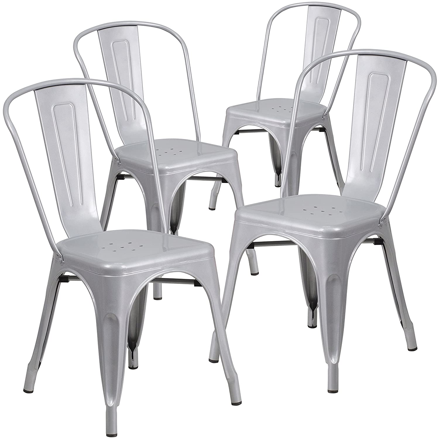Flash Furniture 4 Pk. Silver Metal Indoor-Outdoor Stackable Chair