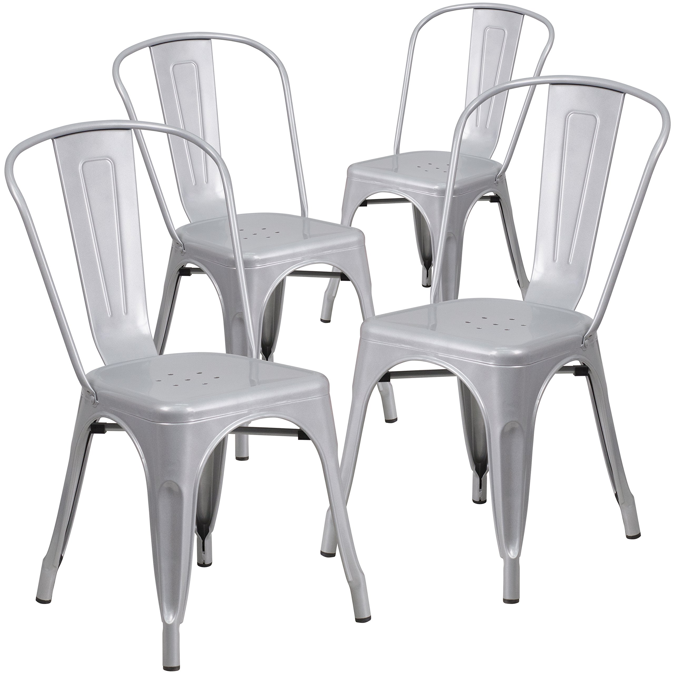 Flash Furniture 4 Pk. Silver Metal Indoor-Outdoor Stackable Chair by Flash Furniture