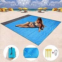 Gluriz Alfombras de Playa, Manta Picnic Impermeable 210 * 200cm Anti-Arena con 4 Estaca Fijo para la Playa, Picnic, Acampa y Otra Actividad al Aire Libre