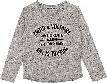 Zadig & Voltaire - Camiseta de Manga Larga para niño (Talla: 8 años), diseño de Flores, Color Gris