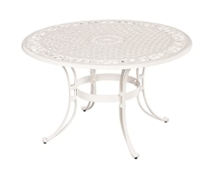 Amazoncom Home Styles Biscayne Round Outdoor Dining Table - White metal outdoor dining table