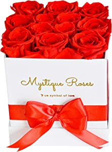 Preserved Fresh Cut Roses - Lush Rose Scented Bouquet of Flowers in a White Box - Gift for Her, Anniversary, Wedding, Birthday, Christmas - A Dozen Red Rose That Last a Year and More (12)