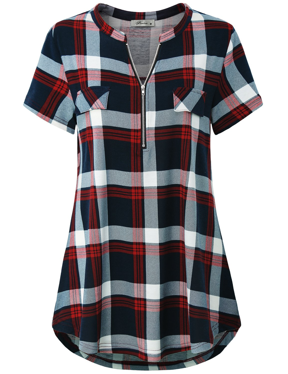 Finice Tunic Tops, Women's Tops Band Collar Cute Zip V Neck Spring Blouse Classy Stylish Short Sleeve Checkered Grid Multi-Color Printed Henley Shirt Soft Surroundings Red XXXL