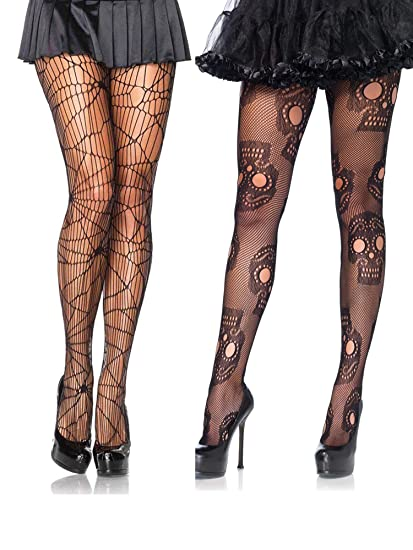 da0a98ec22f48 Amazon.com: Net Halloween Distressed Fishnet Sugar Skull Day of The Dead  Costume Hosiery Tights- Pack of 2: Clothing