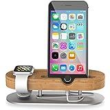 Ladestation Halterung, CoJoie Bamboo Aluminium Docking Station Apple Watch Stand für Apple Watch und iPhone 5 5S 5C 6 6 PLUS SE 6S 6S Plus